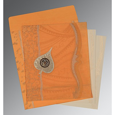 Orange Wooly Embossed Wedding Card : S-8210L - 123WeddingCards