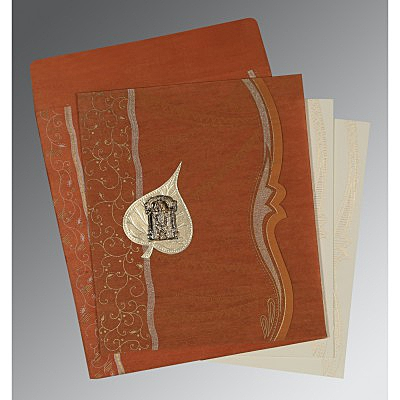 Orange Wooly Embossed Wedding Card : SO-8210D - 123WeddingCards