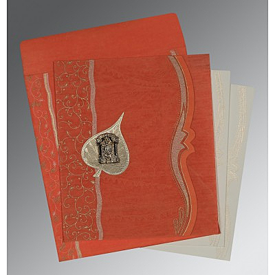 Orange Wooly Embossed Wedding Card : SO-8210F - 123WeddingCards
