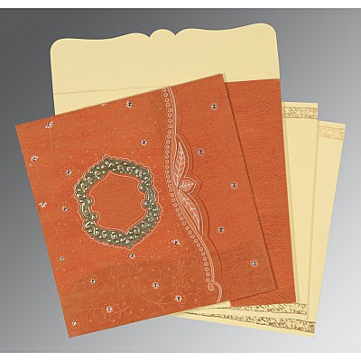Orange Wooly Floral Themed - Embossed Wedding Card : D-8209D - 123WeddingCards