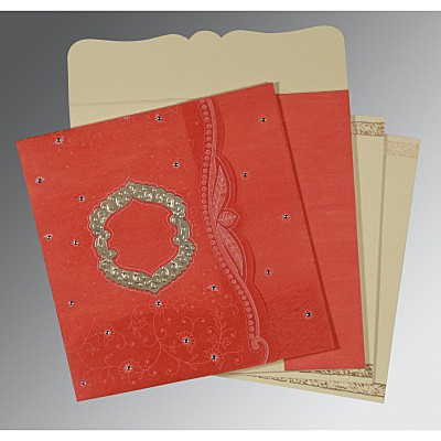 Orange Wooly Floral Themed - Embossed Wedding Card : D-8209M - 123WeddingCards
