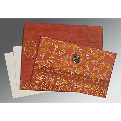 Orange Wooly Floral Themed - Glitter Wedding Card : C-8206G - 123WeddingCards