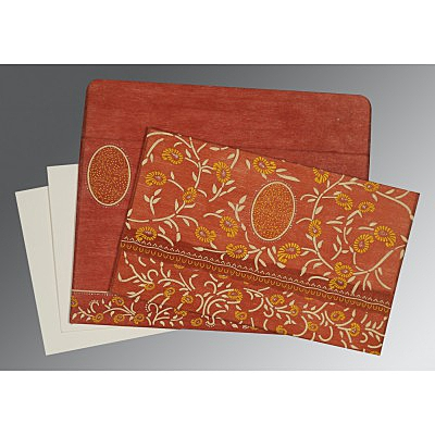 Orange Wooly Floral Themed - Glitter Wedding Card : D-8206G - 123WeddingCards