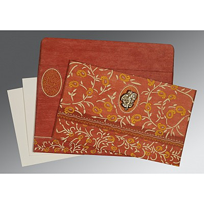Orange Wooly Floral Themed - Glitter Wedding Card : I-8206G - 123WeddingCards
