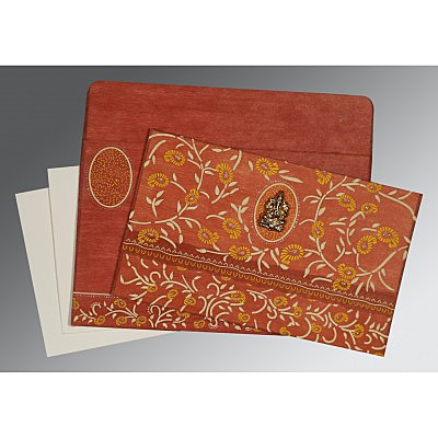 Orange Wooly Floral Themed - Glitter Wedding Invitations : W-8206G - 123WeddingCards