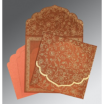 Orange Wooly Floral Themed - Screen Printed Wedding Invitation : I-8211H - 123WeddingCards