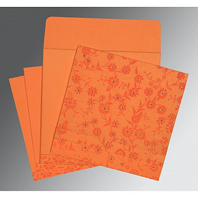 Orange Wooly Floral Themed - Screen Printed Wedding Card : I-8222C - 123WeddingCards