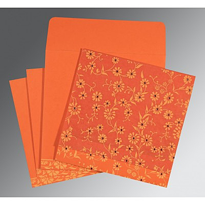 Orange Wooly Floral Themed - Screen Printed Wedding Card : W-8222L - 123WeddingCards