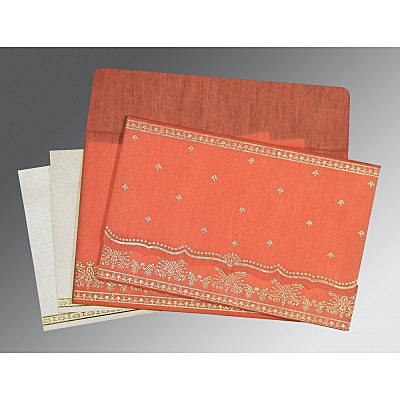 Orange Wooly Foil Stamped Wedding Invitation : D-8241K - 123WeddingCards
