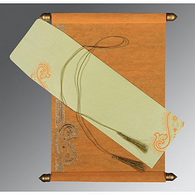 Orange Wooly Foil Stamped Wedding Card : SC-5015J - 123WeddingCards