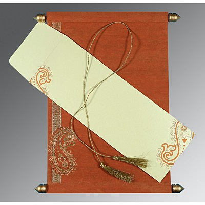 Orange Wooly Foil Stamped Wedding Card : SC-5015K - 123WeddingCards