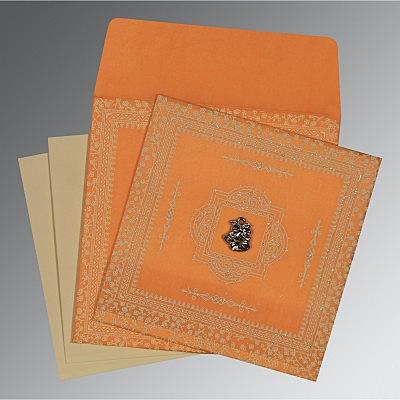 Orange Wooly Glitter Wedding Invitations : C-8205H - 123WeddingCards