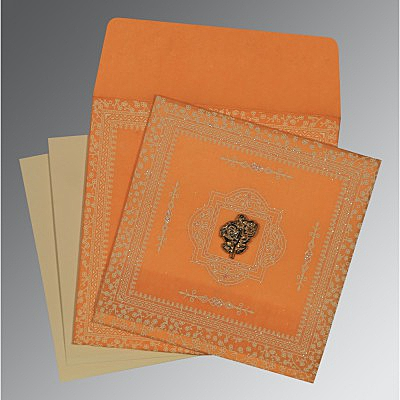Orange Wooly Glitter Wedding Card : I-8205H - 123WeddingCards
