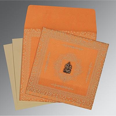 Orange Wooly Glitter Wedding Invitations : IN-8205H - 123WeddingCards