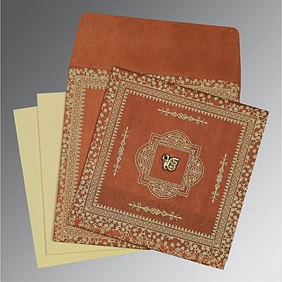 Orange Wooly Glitter Wedding Card : S-8205C - 123WeddingCards