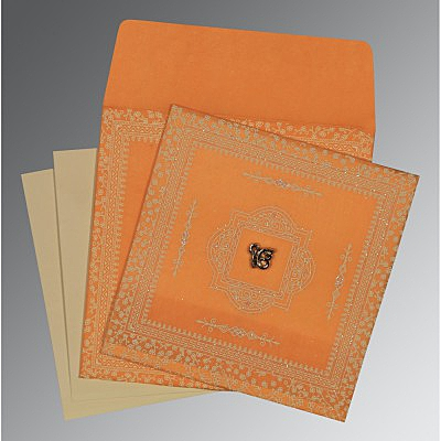 Orange Wooly Glitter Wedding Card : S-8205H - 123WeddingCards