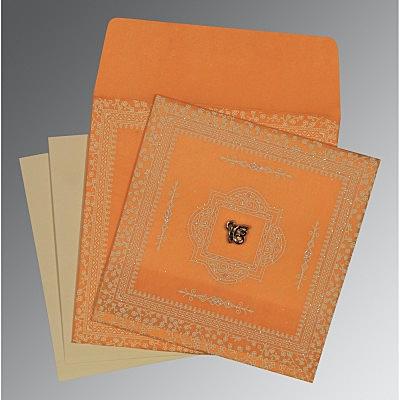 Orange Wooly Glitter Wedding Card : S-8205H - 123WeddingCards