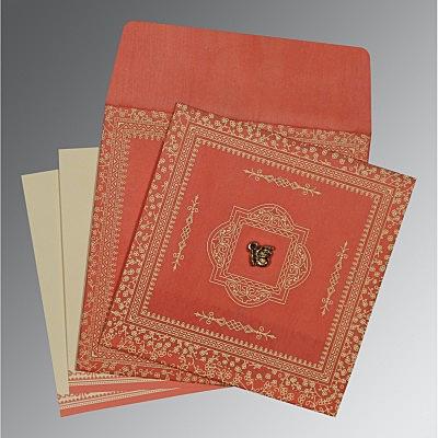 Orange Wooly Glitter Wedding Card : S-8205M - 123WeddingCards