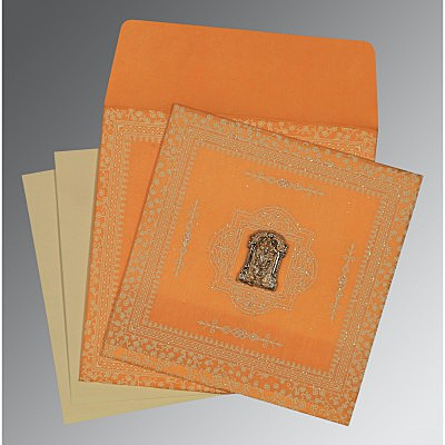 Orange Wooly Glitter Wedding Card : SO-8205H - 123WeddingCards