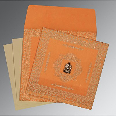 Orange Wooly Glitter Wedding Card : W-8205H - 123WeddingCards