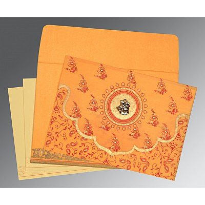 Orange Wooly Screen Printed Wedding Invitations : C-8207J - 123WeddingCards