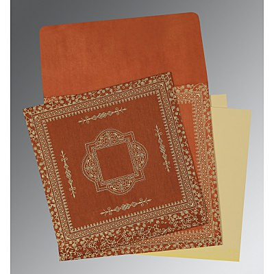 Orange Wooly Screen Printed Wedding Card : D-1050 - 123WeddingCards