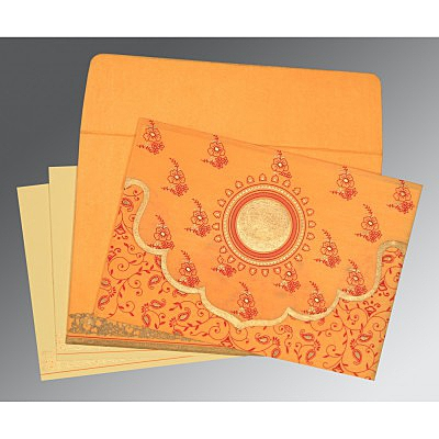 Orange Wooly Screen Printed Wedding Invitation : D-8207J - 123WeddingCards