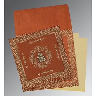 Orange Wooly Screen Printed Wedding Card : G-1050 - 123WeddingCards