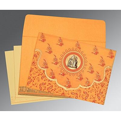Orange Wooly Screen Printed Wedding Invitation : G-8207J - 123WeddingCards
