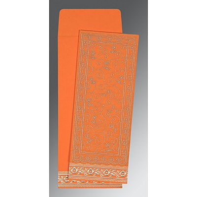 Orange Wooly Screen Printed Wedding Invitation : G-8220F - 123WeddingCards