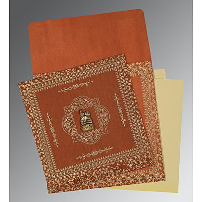 Orange Wooly Screen Printed Wedding Card : I-1050 - 123WeddingCards