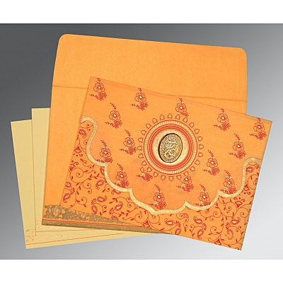 Orange Wooly Screen Printed Wedding Invitation : I-8207J - 123WeddingCards