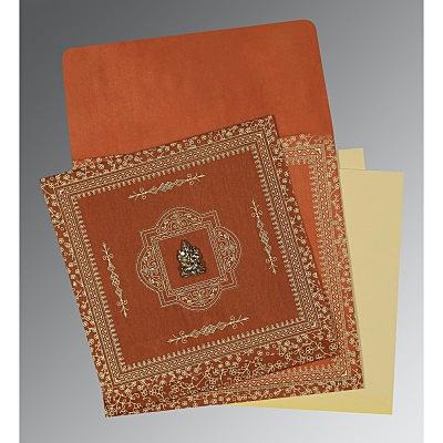 Orange Wooly Screen Printed Wedding Card : IN-1050 - 123WeddingCards