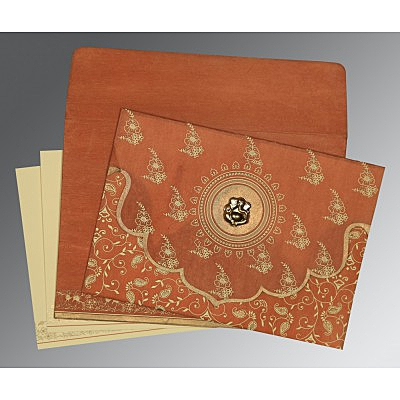 Orange Wooly Screen Printed Wedding Invitations : IN-8207N - 123WeddingCards