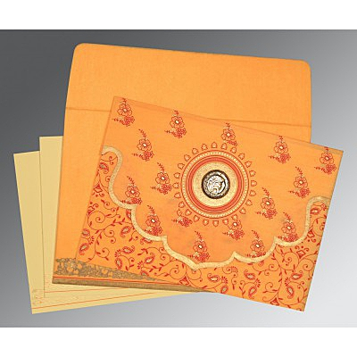 Orange Wooly Screen Printed Wedding Invitation : S-8207J - 123WeddingCards