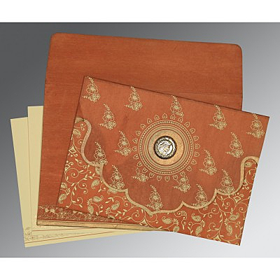 Orange Wooly Screen Printed Wedding Invitations : S-8207N - 123WeddingCards