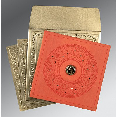 Orange Wooly Screen Printed Wedding Invitations : S-8214C - 123WeddingCards