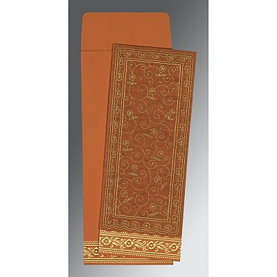 Orange Wooly Screen Printed Wedding Invitation : S-8220C - 123WeddingCards