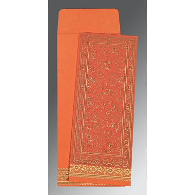 Orange Wooly Screen Printed Wedding Invitation : S-8220N - 123WeddingCards