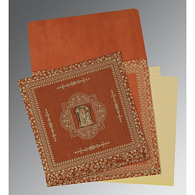 Orange Wooly Screen Printed Wedding Card : SO-1050 - 123WeddingCards