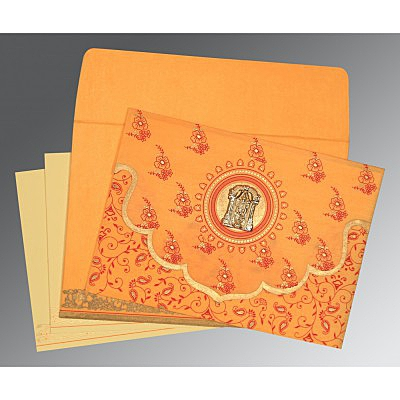 Orange Wooly Screen Printed Wedding Invitation : SO-8207J - 123WeddingCards