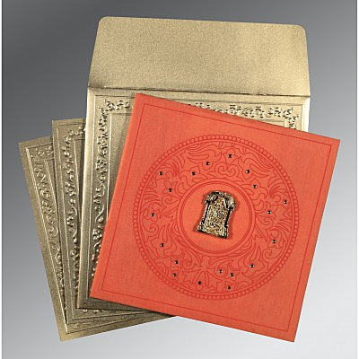 Orange Wooly Screen Printed Wedding Card : SO-8214C - 123WeddingCards
