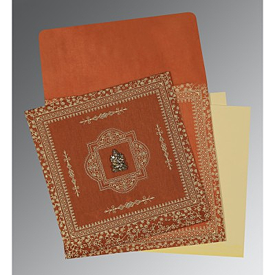 Orange Wooly Screen Printed Wedding Invitations : W-1050 - 123WeddingCards
