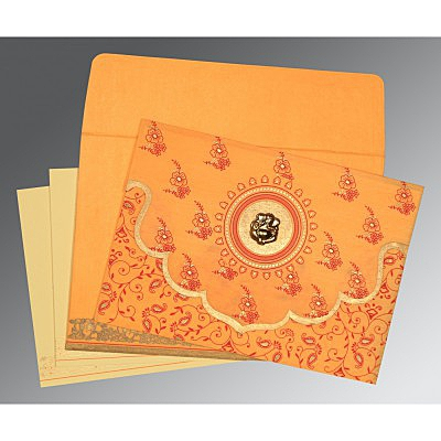 Orange Wooly Screen Printed Wedding Invitation : W-8207J - 123WeddingCards
