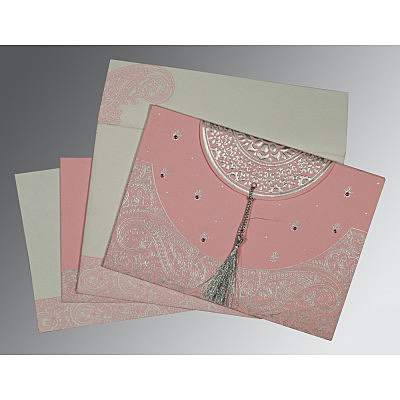 Pink Handmade Cotton Embossed Wedding Card : C-8234G - 123WeddingCards