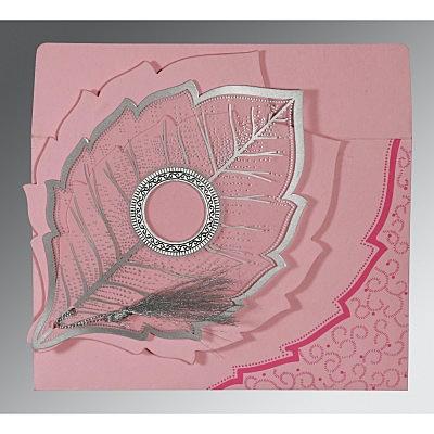 Pink Handmade Cotton Floral Themed - Foil Stamped Wedding Invitations : G-8219K - 123WeddingCards