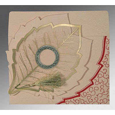 Pink Handmade Cotton Floral Themed - Foil Stamped Wedding Card : CIN-8219D - 123WeddingCards