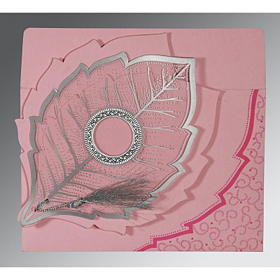 Pink Handmade Cotton Floral Themed - Foil Stamped Wedding Card : W-8219K - 123WeddingCards