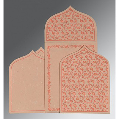 Pink Handmade Silk Paisley Themed - Glitter Wedding Invitations : S-8208F - 123WeddingCards