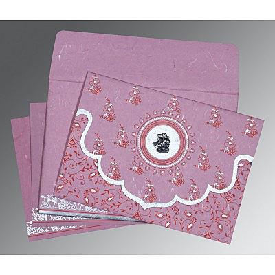 Pink Handmade Silk Screen Printed Wedding Invitation : C-8207K - 123WeddingCards